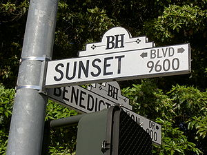 A Sunset Boulevard sign, in Los Angeles, Calif...