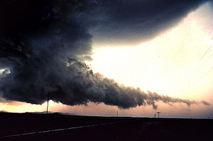 A wall cloud with tail cloud.