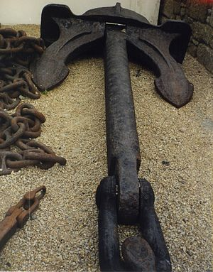 A stockless anchor at Land's End visitor centr...