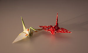 Cranes made by Origami (paper). The height is ...