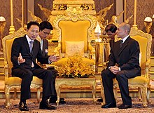 King Norodom Sihamoni meeting with South Korean president Lee Myung-bak at the Royal Palace in 2009.