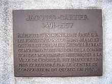 Jacques Cartier   Wikipedia Plaque on the statue of Jacques Cartier in front of the Gabrielle Roy  public library  in the Saint Roch neighbourhood of Quebec City
