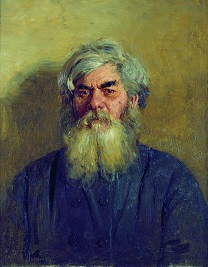 A peasant with an evil eye. Portrait of Ivan F...