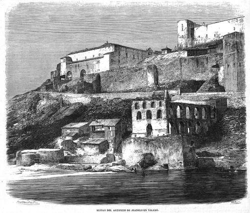 Ruinas del artificio de Juanelo, grabado publicado en 1858 en El Museo Universal.