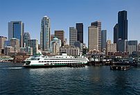Downtown Seattle, Washington and the Bainbridge Island ferry.