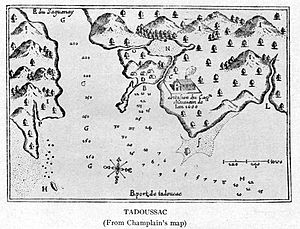 Tadoussac in about 1612, illustrated by Samuel...