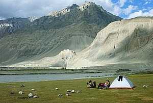 English: Wilderness camping on the bank of Zan...