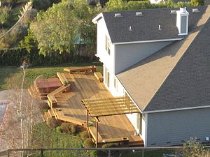 A backyard deck