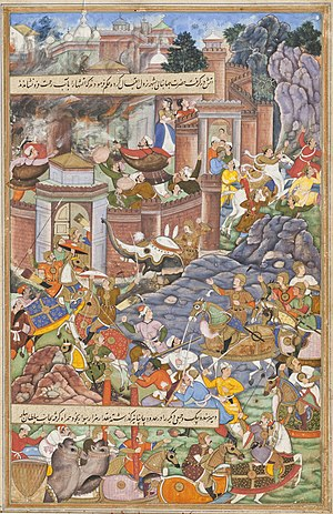 The Mughal Emperor Humayun, fights Bahadur Sha...