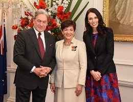 Peters with Prime Minister Jacinda Ardern and Governor-General Dame Patsy Reddy at the swearing-in of the new Cabinet on 26 October 2017.