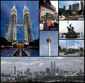 Theo chiều kim đồng hồ từ phía trên bên trái: Tháp đôi Petronas, phố Petaling, Masjid Jamek và nơi sông Gombak/Klang hợp lưu, bia kỷ niệm Quốc gia, Thánh đường quốc gia, quang cảnh KL. Giữa: Tháp Kuala Lumpur