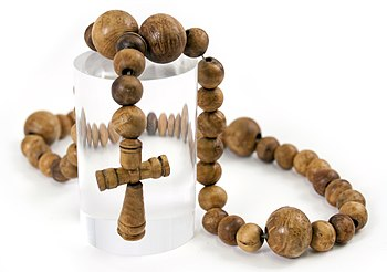 English: A rosary found on board the carrack M...