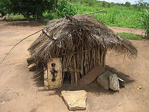 Traditional housing for chicken in Zembe, Mani...