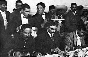 Villa (L), Gutiérrez (C), and Zapata (R), foll...