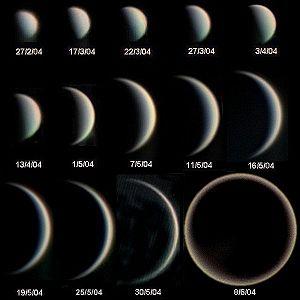 Français : Phases de Vénus et évolution de son...