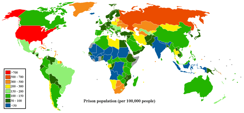 Prison Population (per 100,000 people), photo by wikimedia user sbw01f, used via creative commons
