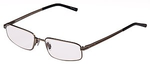 English: A pair of reading glasses with LaCost...