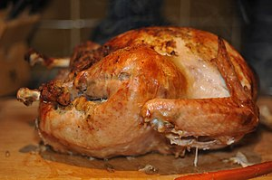 English: Oven roasted turkey, common fare for ...