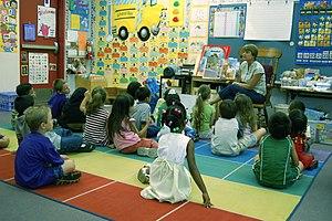 Story time in a kindergarten classroom in Mari...