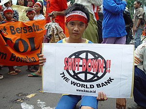 A young World Bank protester in Jakarta, Indon...