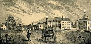 View of Lenox, MA; from an 1839 woodprint by J...