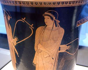 Sappho on an Attic red-figure vase by the Brygos Painter, ca. 470 BC. Image from Wikimedia Commons.