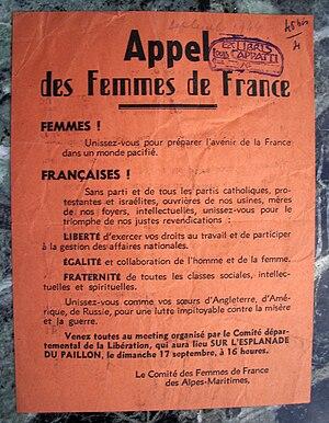 Tract des femmes de France appelant à l'union ...