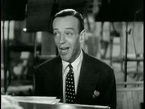 """Movie screenshot of Fred Astaire singing """"..."""