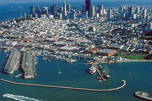 Aerial view of Fisherman's Wharf on San Franci...