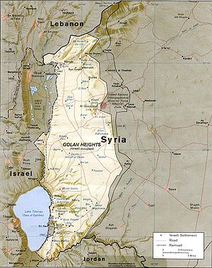 English: CIA map of the Golan Height showing I...