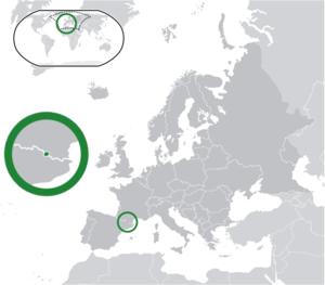 Andorra (dark green) / Europe (dark grey); ins...