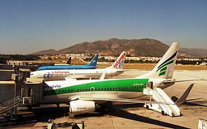 View of the main apron at Malaga Airport, show...