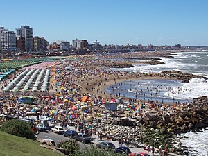 One of the beaches of Mar del Plata during sum...