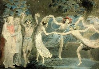 Oberon, Titania and Puck with Fairies Dancing. William Blake. c.1786