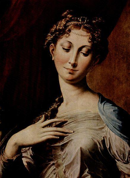 Madonna dal collo lungo, particolare