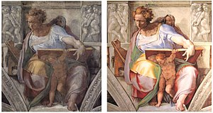 Sistine Chapel, the prophet Daniel before and ...