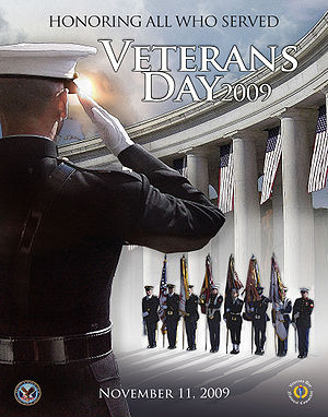 English: Veterans Day poster issued by the U.S...