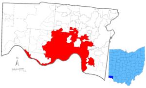 Map of Hamilton County, Ohio highlighting Cinc...