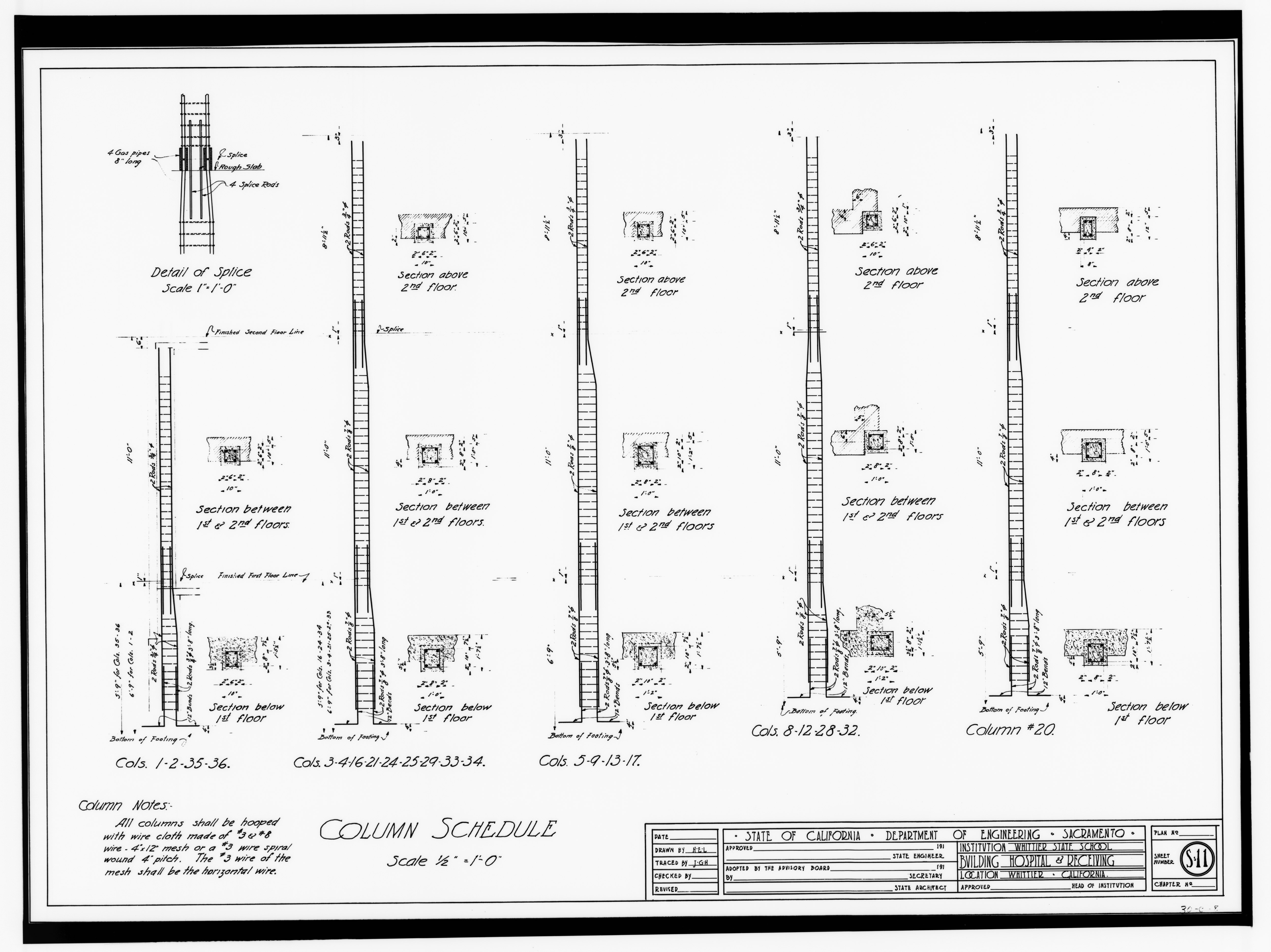 File Column Schedule Drawing S11