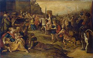 English: Entry of king David into Jerusalem