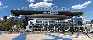 A view of the Docklands Stadium, currently kno...