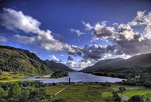 View of Glenfinnan monument and Loch Shiel