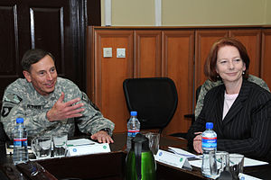 Gillard with General David Petraeus, the comma...