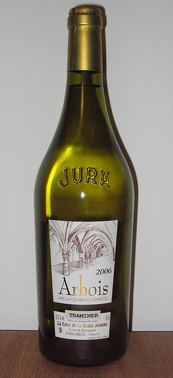 A bottle of Arbois Traminer wine, from the Jur...