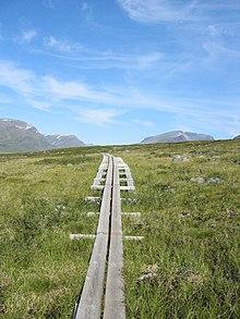 Manche Teilstücke des Kungsleden sind wegen des sumpfigen Untergrunds mit Holzplanken ausgelegt.