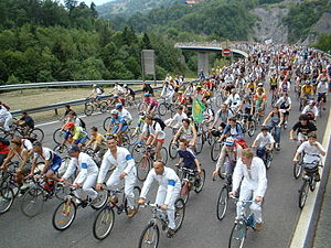 bicycle demonstration in Chamonix.