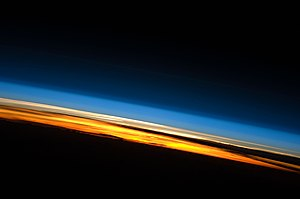 Limb view, of the Earth's atmosphere. Colours ...