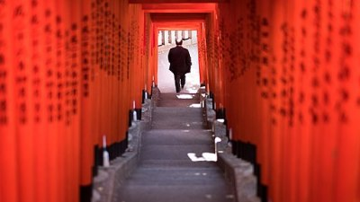 The Torii Tunnel Tokyo Japan Color Street Photography (241421647)