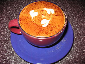 English: Coffee cup with cappuccino with coffe...