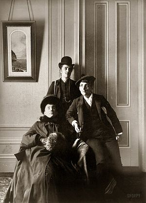 Frances Benjamin Johnston (right) poses with t...